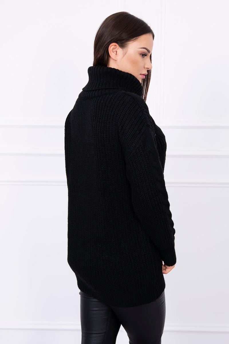 2a37ef80a345 Čierny pletený dlhý sveter