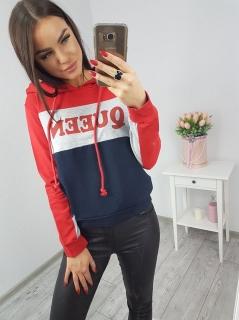 Dámska mikina Queen - červeno modrá empty a5ae2e133b7