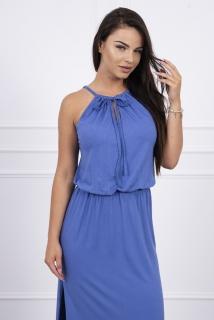 525809fb60da Dlhé letné šaty na ramienka - džínsová modrá empty